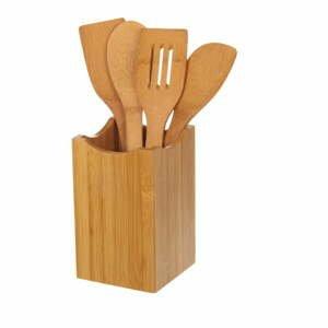 Sada 4 kuchyňských nástrojů z bambusu ve stojanu Unimasa