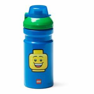 Modrá lahev na vodu se zeleným víčkem LEGO® Iconic, 390ml