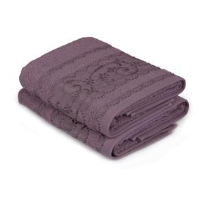 Sada 2 fialových bavlněných ručníků Yosemine, 50 x 90 cm