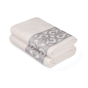Sada 2 bílých ručníků na ruce s šedým lemováním Grace