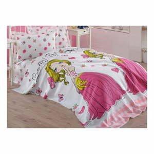 Růžový dětský přehoz přes postel z čisté bavlny Princess, 160 x 235 cm