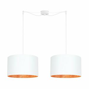 Bílé dvojité stropní svítidlo s vnitřkem v měděné barvě Sotto Luce Mika