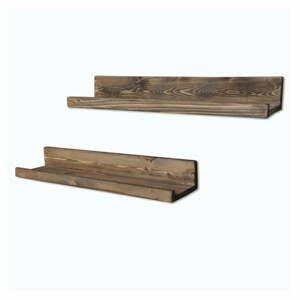 Sada 2 dřevěných nástěnných polic Simple