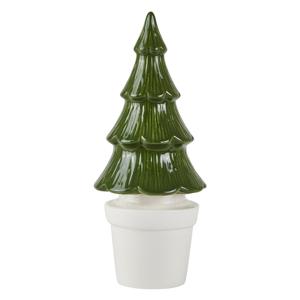 Zelený keramický dekorativní vánoční stromek KJ Collection, výška 27 cm