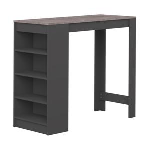 Černý barový stolek s deskou v dekoru betonu TemaHome Aravis