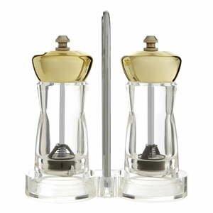 Set mlýnku na sůl a pepř s detailem zlaté barvy se stojanem Premier Housewares Mill