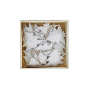 Sada 10 bílých vánočních ozdob ze dřeva ve tvaru stromečku Ego Dekor X-mass
