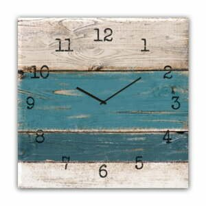 Nástěnné hodiny Styler Glassclock Blue Wood, 30 x 30 cm
