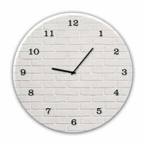 Nástěnné hodiny Styler Glassclock White Brick, ⌀ 30 cm