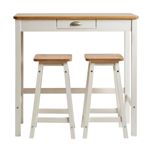 Bílý barový stolek se 2 stoličkami z masivního borovicového dřeva Marckeric Caya