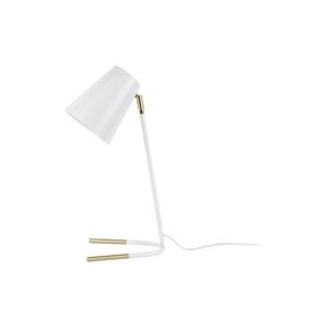 Bílá stolní lampa s detaily ve zlaté barvě Leitmotiv Noble