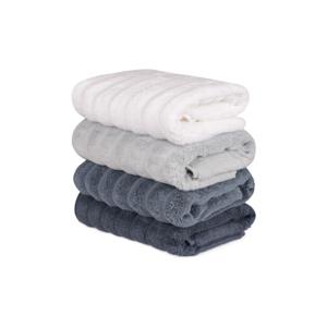 Sada 4 šedo-bílých bavlněných ručníků Sofia, 50 x 90 cm