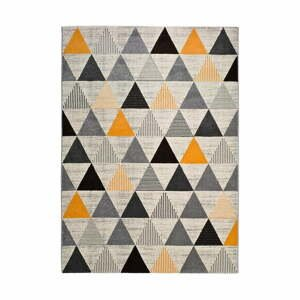 Šedo-oranžový koberec Universal Leo Triangles, 80 x 150 cm