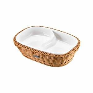Porcelánová servírovací miska v béžovém košíku Saleen, 22,5x16,5x5,5cm