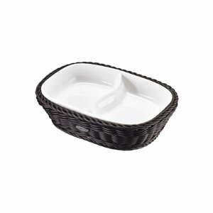 Porcelánová servírovací miska v černém košíku Saleen, 22,5 x 16,5 x 5,5 cm