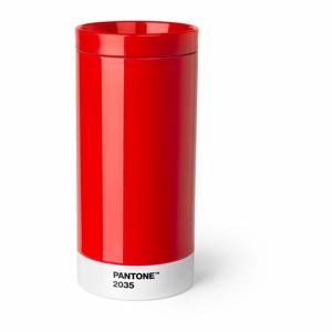 Červený cestovní hrnek znerezové oceli Pantone, 430ml