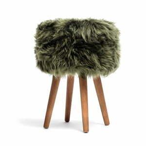 Stolička s tmavě zeleným sedákem z ovčí kožešiny Royal Dream, ⌀30cm