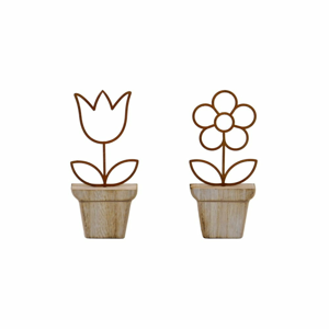 Sada 2 dřevěných dekorací ve tvaru květin EgoDekor, 6,5x15 cm