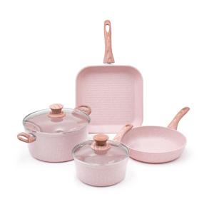 4dílný set nádobí s poklicemi Bisetti Stonerose Rose Alberto