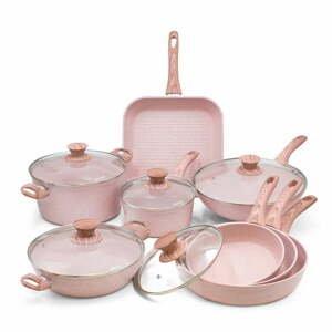 8dílný set nádobí s poklicemi Bisetti Stonerose Rose Gianluca