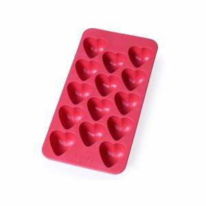 Červená silikonová forma na led Lékué Heart, 24 kostek
