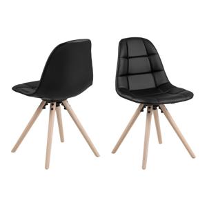 Černá jídelní židle s podnožím z dubového dřeva Actona Lotta