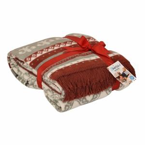 Červená deka s příměsí bavlny Aksu Mistic, 200 x 150 cm