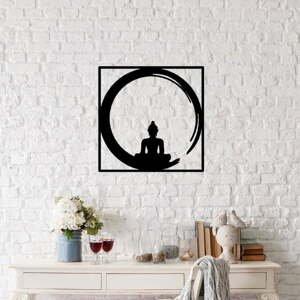 Černá kovová nástěnná dekorace Buddha, 50 x 50 cm