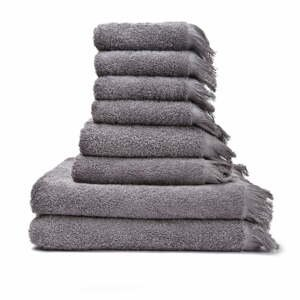 Sada 6 šedých ručníků a 2 osušek ze 100% bavlny Bonami