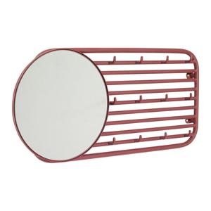 Červený nástěnný věšák s 12 háčky a zrcadlem Hübsch Prio
