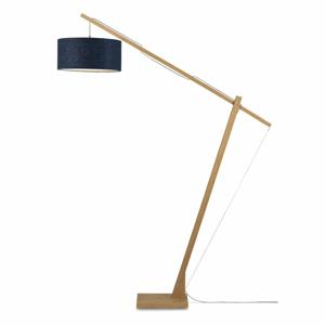 Stojací lampa s tmavě modrým stínidlem a konstrukcí z bambusu Good&Mojo Montblanc