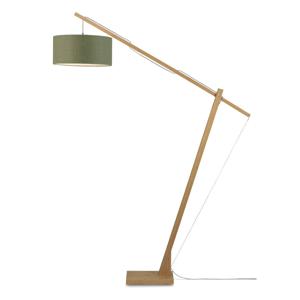Stojací lampa s tmavě zeleným stínidlem a konstrukcí z bambusu Good&Mojo Montblanc