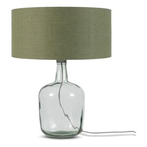 Stolní lampa s tmavě zeleným stínidlem a konstrukcí z recyklovaného skla Good&Mojo Murano, ⌀47cm