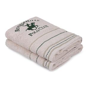Sada 2 béžových ručníků na ruce, 90 x 50 cm