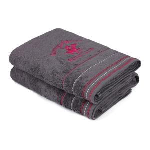 Sada 2 šedých bavlněných ručníků, 140 x 70 cm