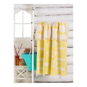 Žlutý ručník Balik, 180 x 100 cm