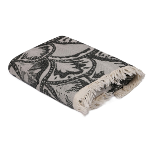 Černo-šedý ručník Yaprak, 180 x 100 cm