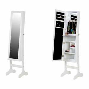 Bílá stojací šperkovnice se zrcadlem a LED podsvícením Chez Ro Bien