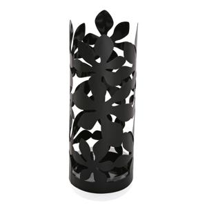 Černý kovový stojan na deštníky Versa Flores, výška 49cm