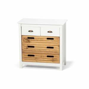 Bílá komoda z borovicového dřeva s 5 šuplíky loomi.design Ibiza