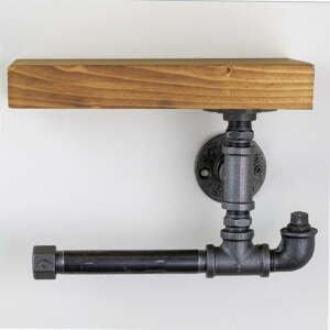 Dřevěný nástěnný držák na toaletní papír s kovovým potrubím Viliam