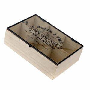 Dřevěná krabička na čaj se 6 přihrádkami Dakls Hannah, 24x16cm