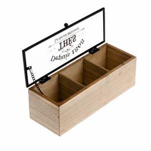 Dřevěná krabička na čaj se 3 přihrádkami Dakls, 22,5x8cm