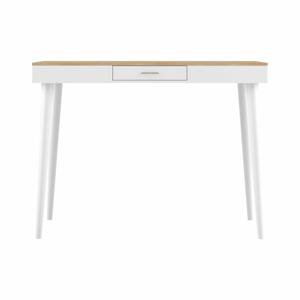 Bílý barový stolek s deskou v dekoru dubu TemaHome Horizon