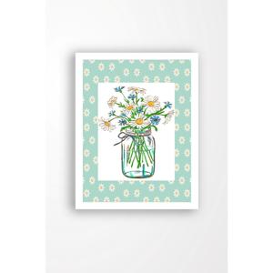 Nástěnný obraz na plátně v bílém rámu Tablo Center Cut Flowers, 29 x 24 cm
