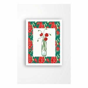 Nástěnný obraz na plátně v bílém rámu Tablo Center Red Flowers, 29 x 24 cm