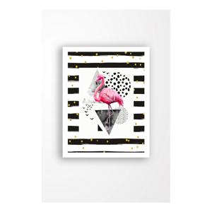 Nástěnný obraz na plátně v bílém rámu Tablo Center Flamingo Black, 29 x 24 cm