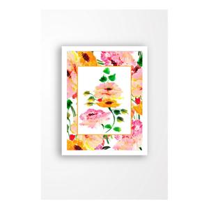 Nástěnný obraz na plátně v bílém rámu Tablo Center Orange Flowers, 29 x 24 cm