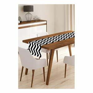 Běhoun na stůl z mikrovlákna Minimalist Cushion Covers Black Stripes, 45x145cm
