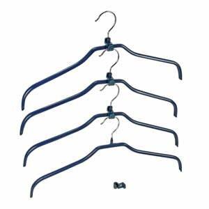Sada 4 modrých protiskluzových ramínek na oblečení a držáků Wenko Hanger Slim